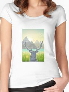 Mountain Stag at Sunset Women's Fitted Scoop T-Shirt