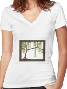 Spring Willow Tree Women's Fitted V-Neck T-Shirt