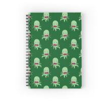 Bowtie Octopus Green Pattern Spiral Notebook