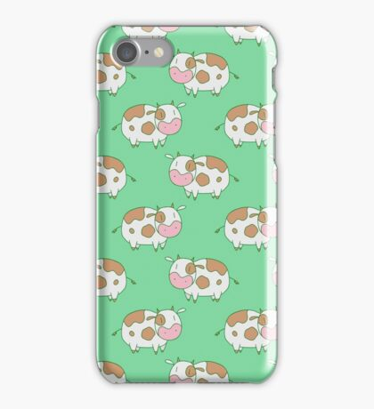 Brown Cow Green Pattern iPhone Case/Skin