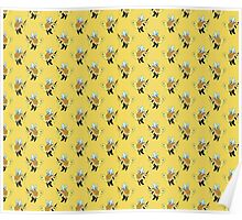 Bumble Bee Turtle Pattern Poster
