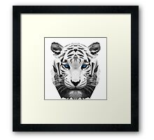 Tiger wild low poly white animal nature Framed Print