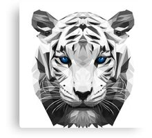 Tiger wild low poly white animal nature Canvas Print