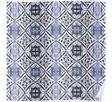Watercolor Morrocan Tile pattern blue Poster
