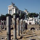 Victore Emmanul Memorial Behind ruins Rome Italy19840719 0001 by Fred Mitchell