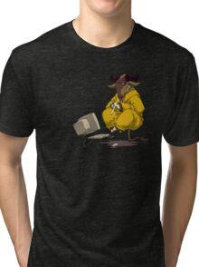 Meditating GNU Playing a Flute Tri-blend T-Shirt