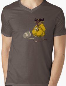 Meditating GNU Playing a Flute Mens V-Neck T-Shirt