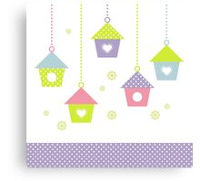 Spring Bird houses in pastel colors Canvas Print