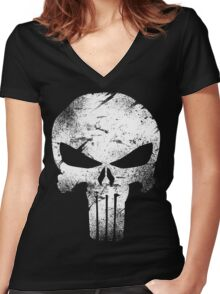 white skull movie Women's Fitted V-Neck T-Shirt