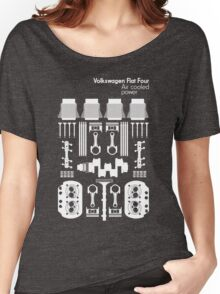 VW Air Cooled Flat Four Engine Parts - White Print Women's Relaxed Fit T-Shirt