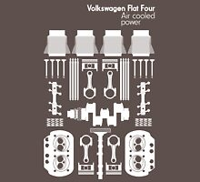 VW Air Cooled Flat Four Engine Parts - White Print Unisex T-Shirt