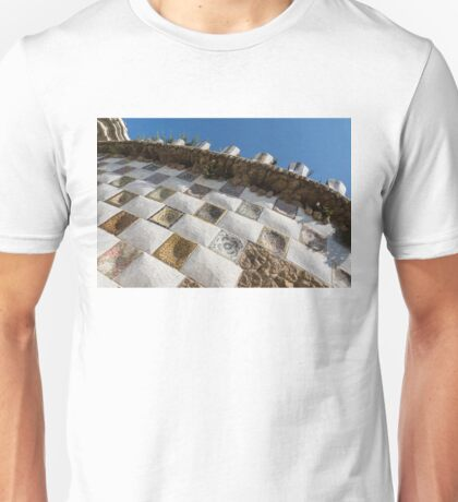 Capricious Trencadis Mosaics - Antoni Gaudi Tiles at Park Guell in the Hot Mediterranean Sun Unisex T-Shirt