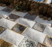 Capricious Trencadis Mosaics - Antoni Gaudi Tiles at Park Guell in the Hot Mediterranean Sun Sticker