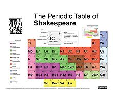 Periodic Table of Shakespeare Photographic Print