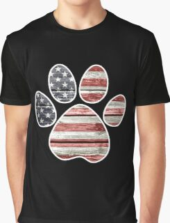 Dog Paw Print, American Flag Graphic T-Shirt