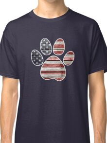 Dog Paw Print, American Flag Classic T-Shirt