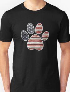 Dog Paw Print, American Flag Unisex T-Shirt