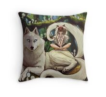 Wolf Princess in the Forest Throw Pillow