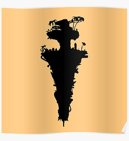 Plastic Beach Island Silhouette (Gorillaz) Poster