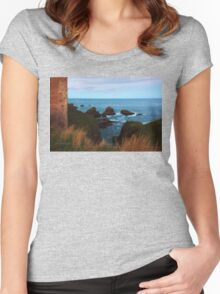 North Sea, Cruden Bay - From Slains Castle - North East coast of Aberdeenshire, Scotland Women's Fitted Scoop T-Shirt
