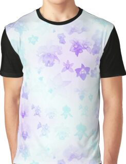 Aqua Cotton Blue + Violet Purple  Variegated Orchid Buds Plants Kawaii Graphic T-Shirt