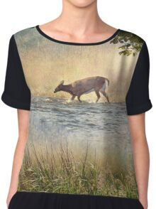 White Tail Deer Touting the Water - Parc National Mont Tremblant Women's Chiffon Top