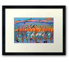 Nine Leaves in the Wind Framed Print