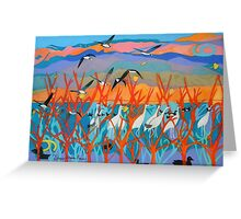 Nine Leaves in the Wind Greeting Card