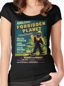 Vintage Sci-fi Movie Forbidden Planet, Robot Women's Fitted Scoop T-Shirt