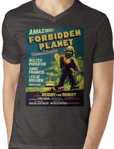 Vintage Sci-fi Movie Forbidden Planet, Robot Mens V-Neck T-Shirt