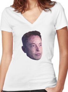 Low Poly Hero: Elon Musk – Shirts & Hoodies Women's Fitted V-Neck T-Shirt