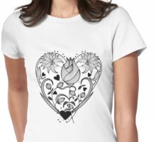 Inked Floral Heart Womens Fitted T-Shirt