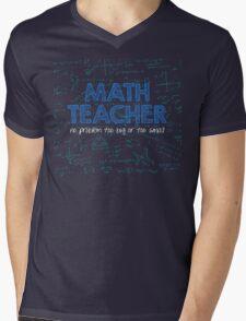 Math Teacher (no problem too big or too small) - blue Mens V-Neck T-Shirt