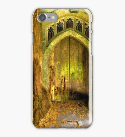 Yew Trees and North Door, St. Edwards Parish Church, Stow on the Wold, England iPhone Case/Skin