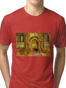 Yew Trees and North Door, St. Edwards Parish Church, Stow on the Wold, England Tri-blend T-Shirt