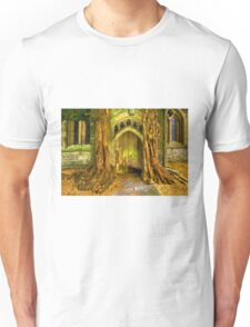 Yew Trees and North Door, St. Edwards Parish Church, Stow on the Wold, England Unisex T-Shirt
