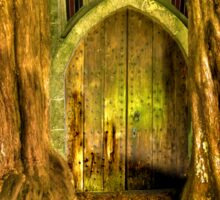 Yew Trees and North Door, St. Edwards Parish Church, Stow on the Wold, England Sticker
