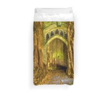 Yew Trees and North Door, St. Edwards Parish Church, Stow on the Wold, England Duvet Cover