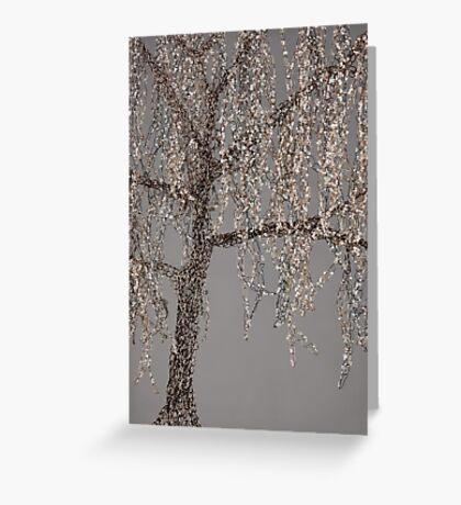 Winter Willow Tree - grey Greeting Card