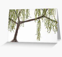 Spring Willow Tree - white Greeting Card