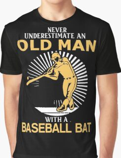 Never Underestimate An Old Man With A Baseball Bat Graphic T-Shirt