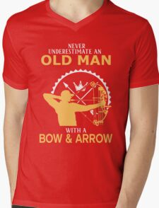 Never Underestimate An Old Man With A Bow & Arrow Mens V-Neck T-Shirt
