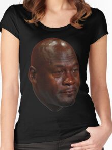 Crying Jordan Women's Fitted Scoop T-Shirt
