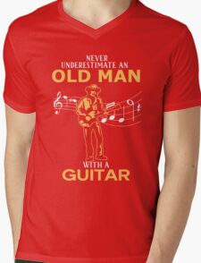 Never Underestimate An Old Man With A Guitar Mens V-Neck T-Shirt