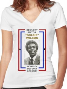 Re-elect Mayor Goldie Wilson T Shirt Women's Fitted V-Neck T-Shirt