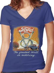 The Greatest Thrill In Motoring Women's Fitted V-Neck T-Shirt