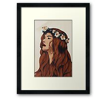 Flower woman lady marquetry picture art Framed Print