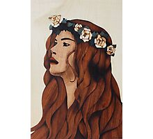 Flower woman lady marquetry picture art Photographic Print