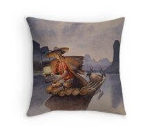 Chinese Cormorant Fisherman Throw Pillow