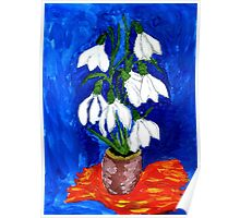 Snowdrop Flowers Painting Poster